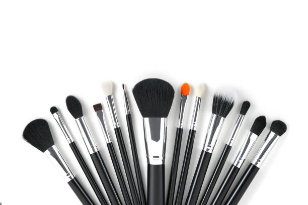 Brushes for make-up are beautifully arranged fan on a white background illuminated by sunlight. A ready-made idea for your beauty and makeup design Brushes for make-up are beautifully arranged fan on a white background illuminated by sunlight. A ready-made idea for your beauty and makeup design make up brush stock pictures, royalty-free photos & images