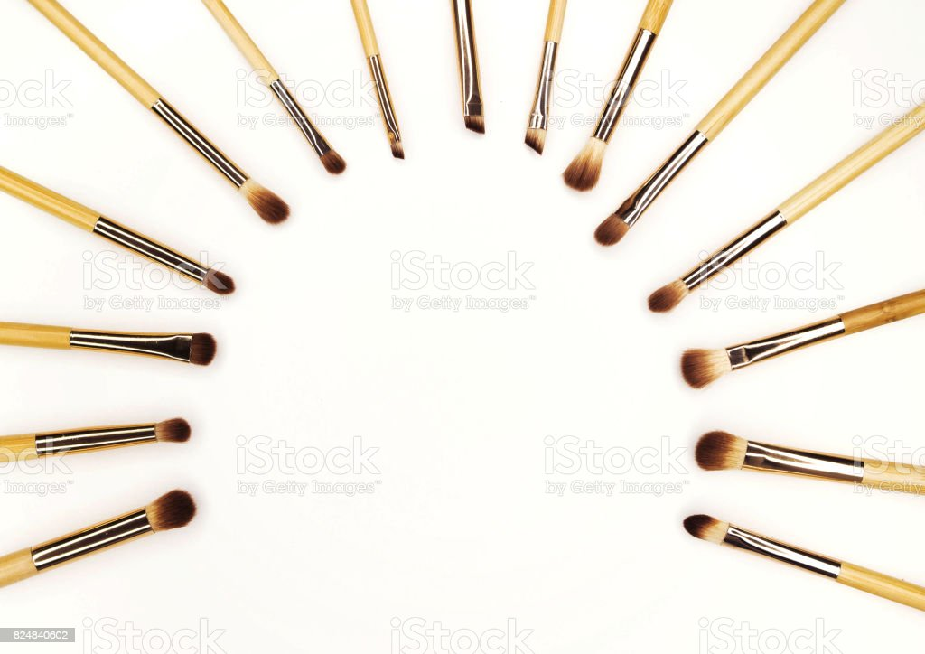 Brushes for makeup bamboo on white for inscription stock photo
