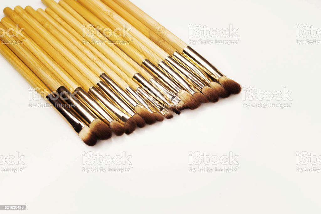 Brushes for make-up bamboo stock photo