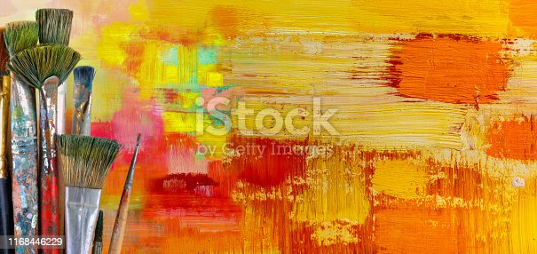 istock Brushes on a colorful background. 1168446229