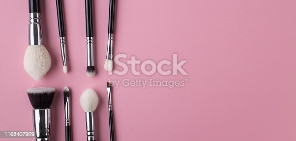 brushes, set, background, makeup, pink