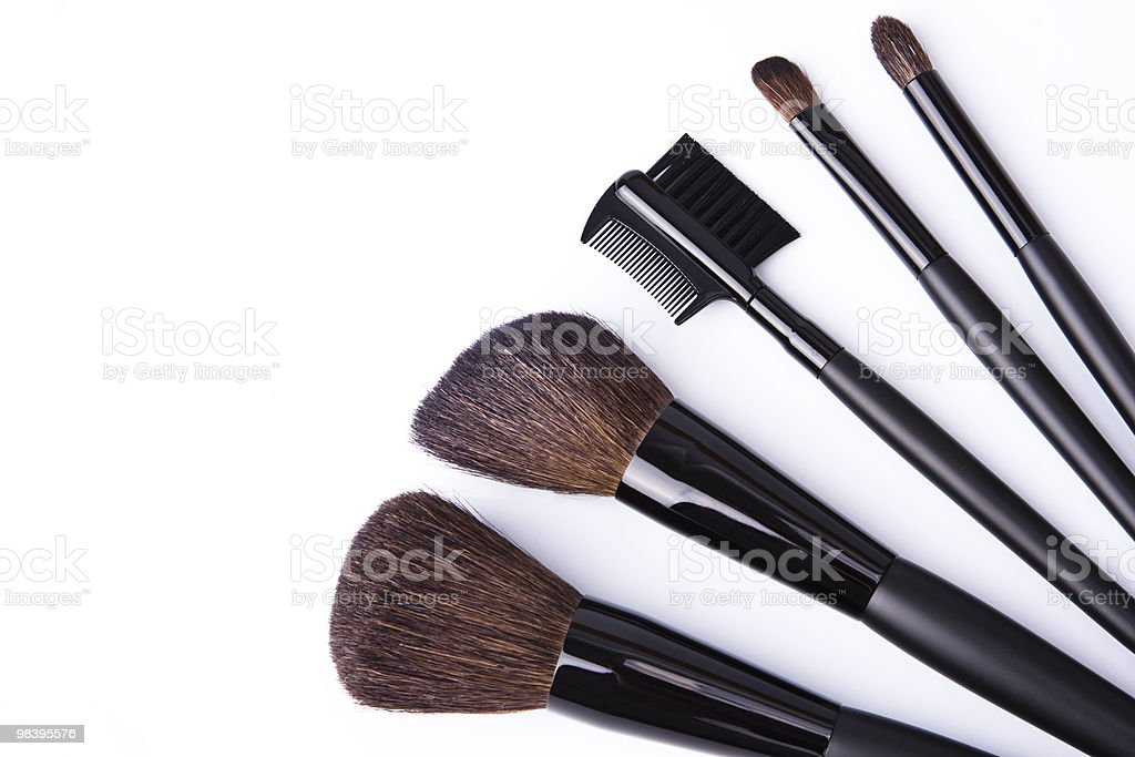 Brushes to make-up isolated on white background royalty-free stock photo