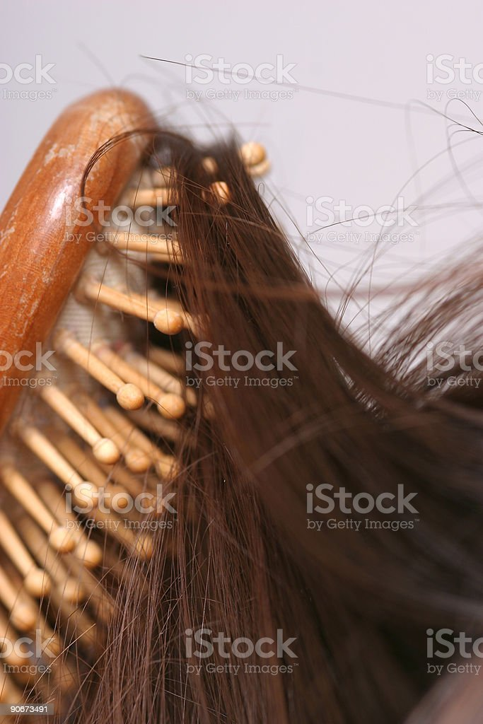Brushing her hair royalty-free stock photo