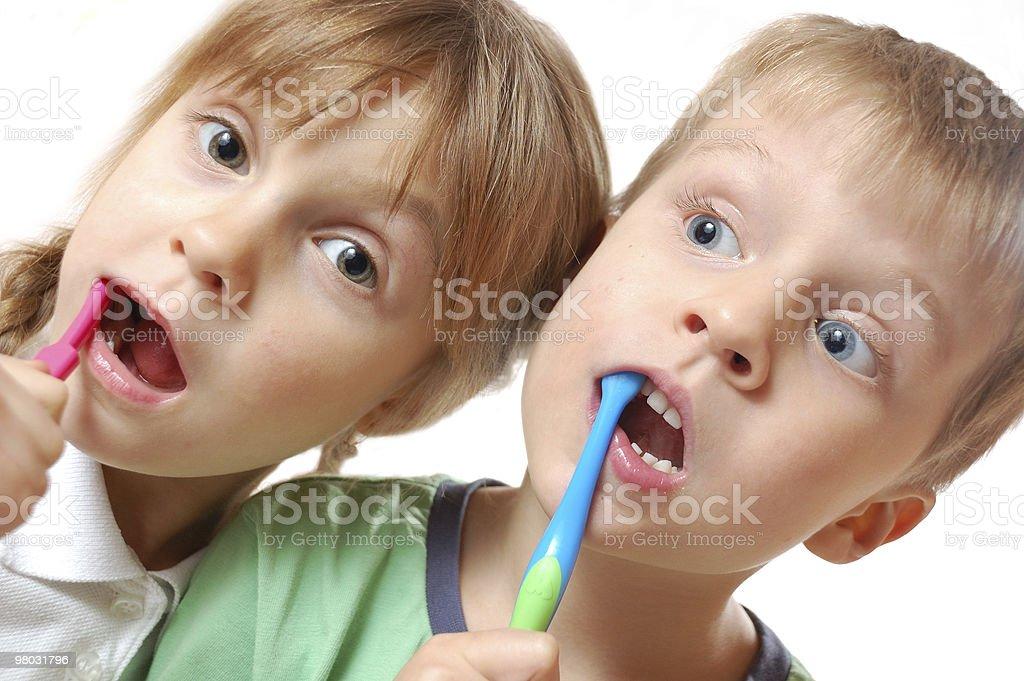 brushing teeth children royalty-free stock photo