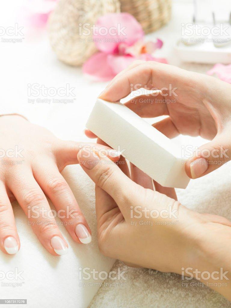 brushing nails