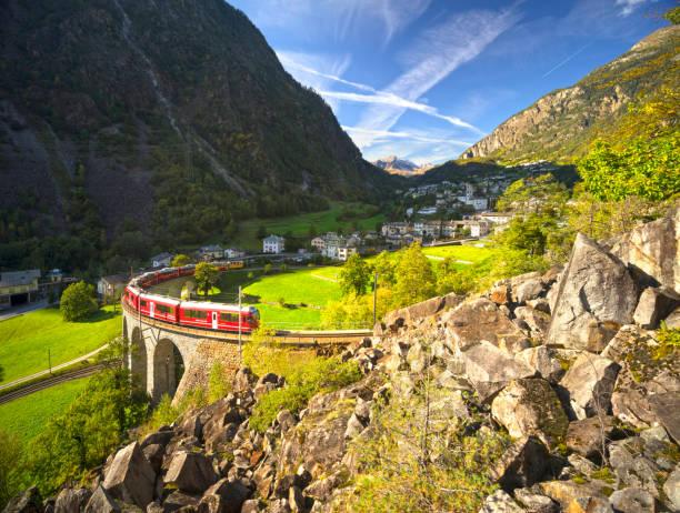 Brusio (Bruzio) bridge viaduct, Train of the Rhaetian Railway RhB stock photo