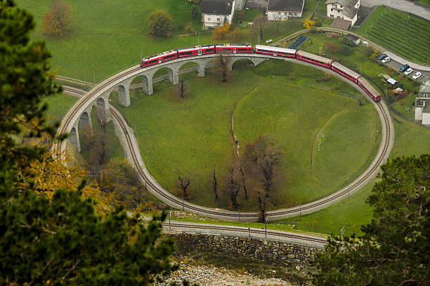 Brusio spiral viaduct stock photo