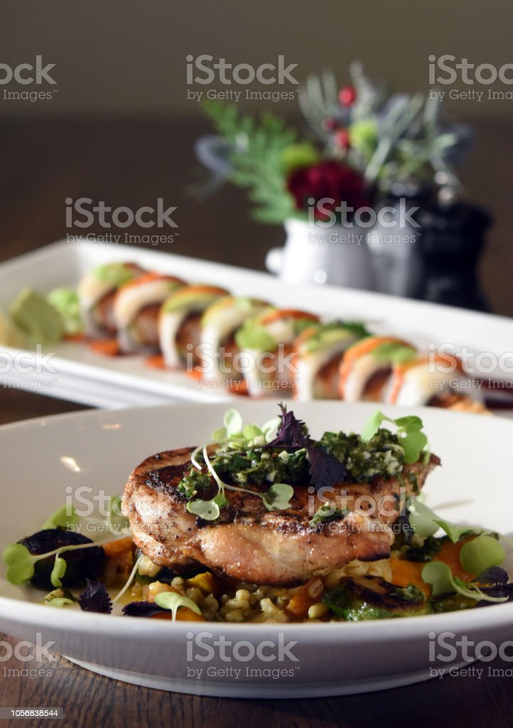 Brussel Chicken with White Tiger Roll stock photo
