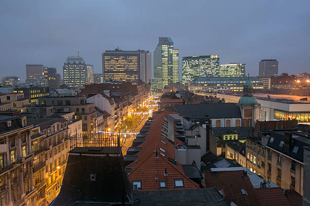 brussel cityview at night in belgium stok fotoğrafı