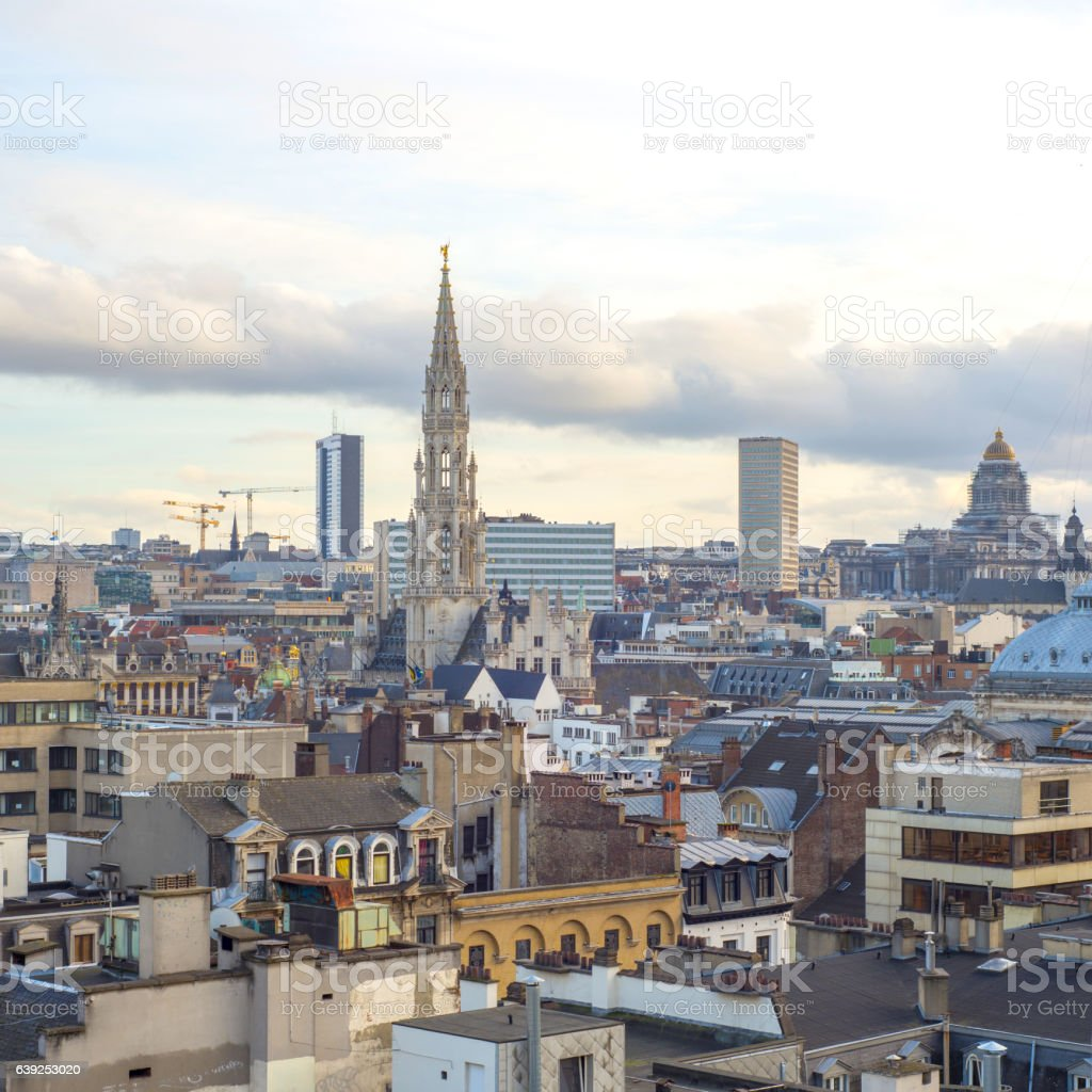 Brussels, aerial view with city buildings. stock photo