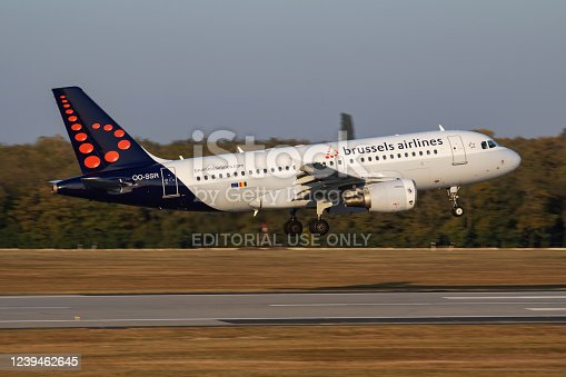 Budapest / Hungary - October 14, 2018: Brussels Airlines Airbus A320 OO-SSR passenger plane arrival and landing at Budapest Airport