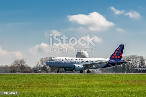 istock Brussels Airlines airplane taking off on runway 936678496