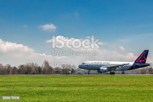 istock Brussels Airlines airplane taking off on runway 936678506