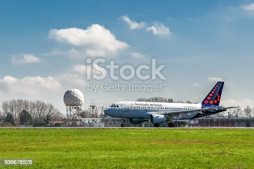istock Brussels Airlines airplane taking off on runway 936678528