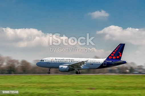 istock Brussels Airlines airplane taking off on runway 936678546