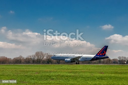 istock Brussels Airlines airplane taking off on runway 936678558