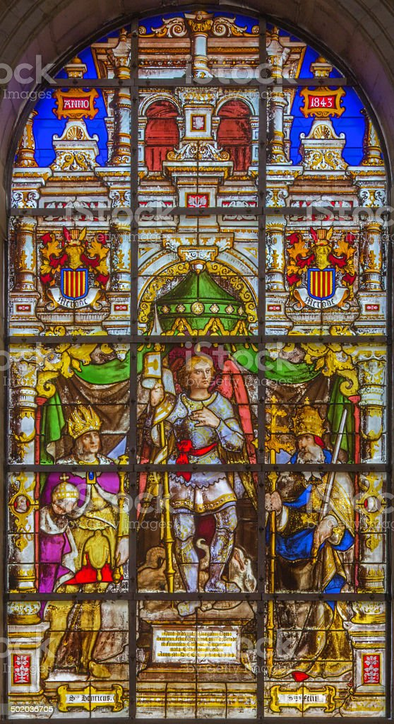 Brussels - Archangel Gabriel on windowpane in the cathedral stock photo