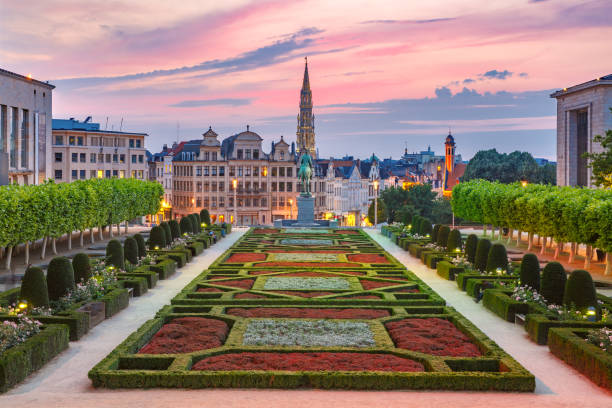 Brussels at sunset, Brussels, Belgium stock photo