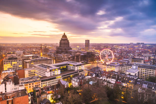 Brussels, Belgium Cityscape Brussels, Belgium cityscape at Palais de Justice during dusk. cupola stock pictures, royalty-free photos & images