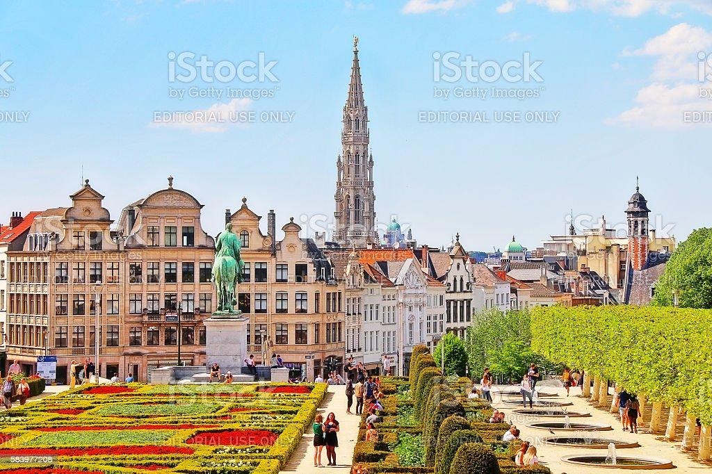 Brussels, Belgium - May 07, 2016 - Kunstberg (Mont des Arts) stock photo