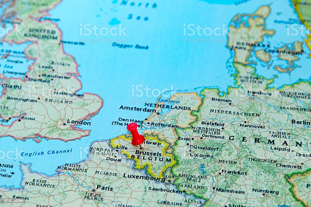 Calais Europe Map.Brussels Belgium Pinned On A Map Of Europe Stock Photo More