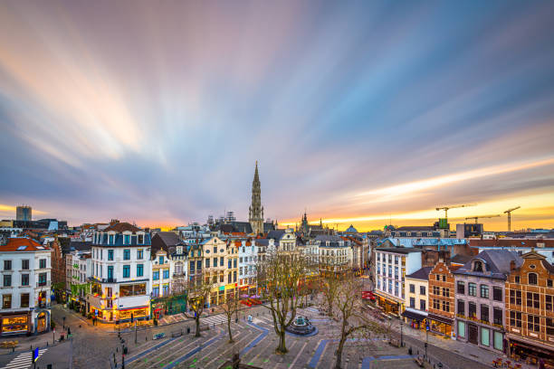Brussels, Belgium plaza and skyline with the Town Hall stock photo