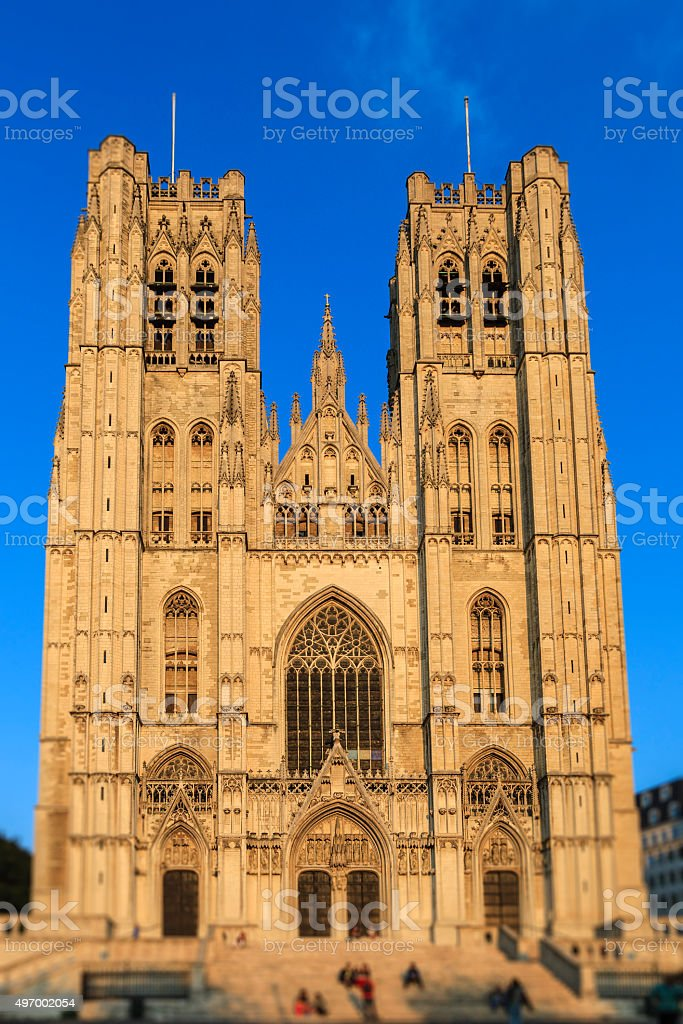 Brussels, Cathedral of St. Michael and St. Gudula - Belgium stock photo