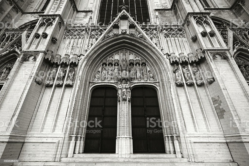 Brussels cathedral stock photo