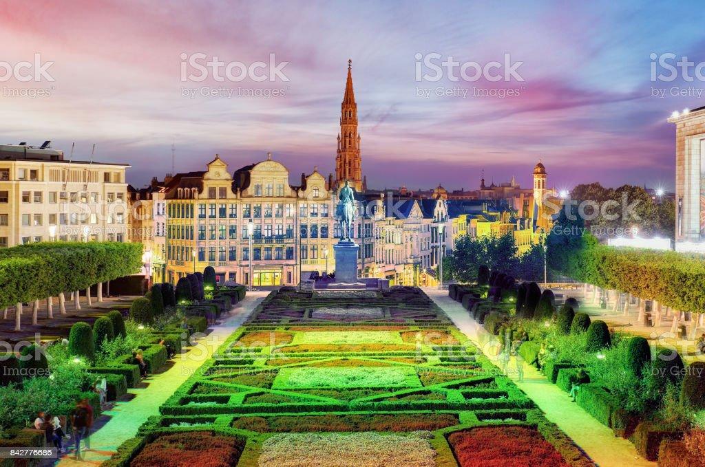 Brussels cityscape at night,  Belgium panorama skyline stock photo