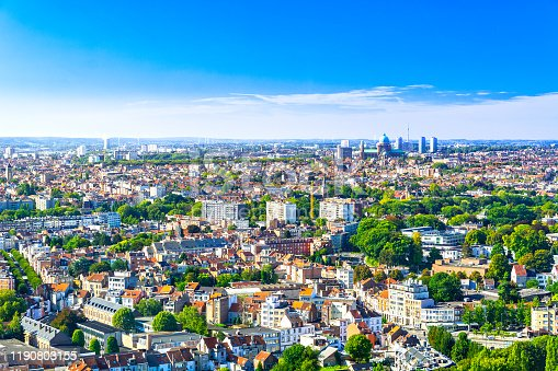 Brussels cityscape, capital of Belgium on sunny summer day