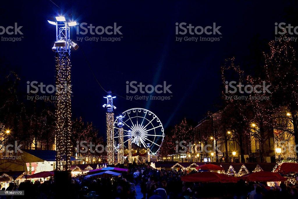 Brussels festive winter night scene Night scene in Brussels during winter. Belgian Culture Stock Photo