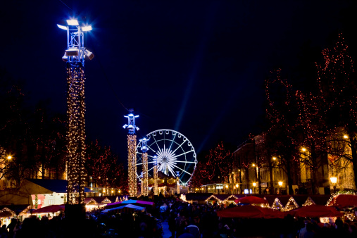 Brussels Festive Winter Night Scene Stock Photo - Download Image Now