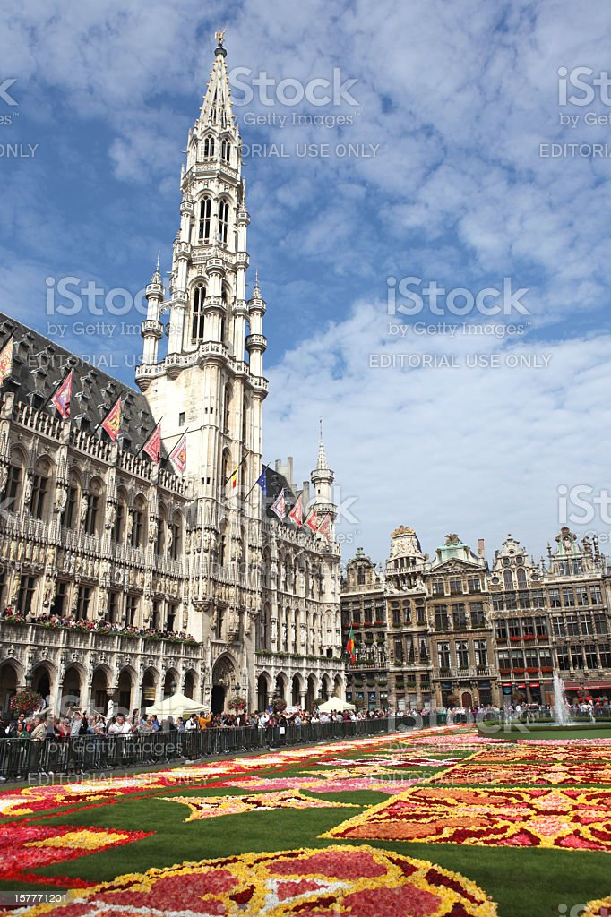 Brussels Flower Carpet 2010 - Town Hall at Grand Place stock photo