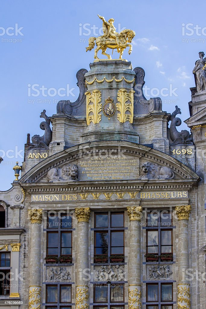 brussels grand place guild houses stock photo