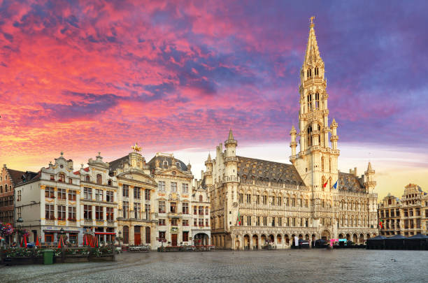 Brussels, Grand Place in beautiful summer sunrise, Belgium Brussels, Grand Place in beautiful summer sunrise, Belgium belgium stock pictures, royalty-free photos & images