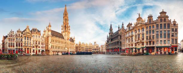 Brussels - panorama of Grand place at sunrise, Belgium stock photo