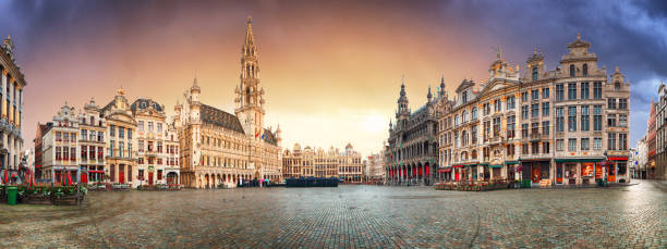 Brussels - panorama of Grand place at sunrise, Belgium stock photo