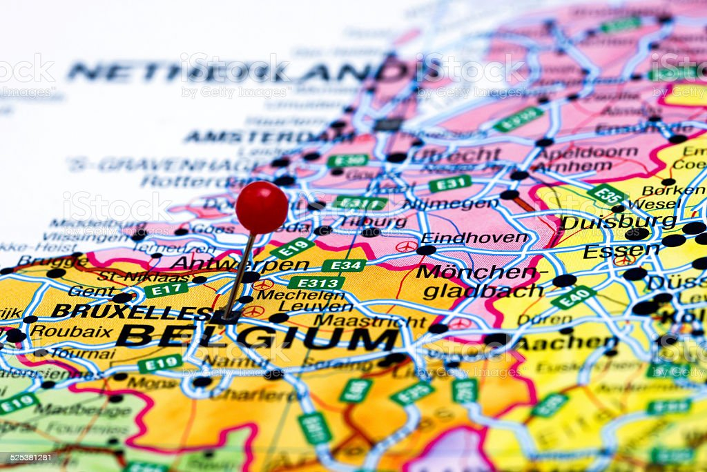 Brussels Pinned On A Map Of Europe Stock Photo IStock - Brussels on world map