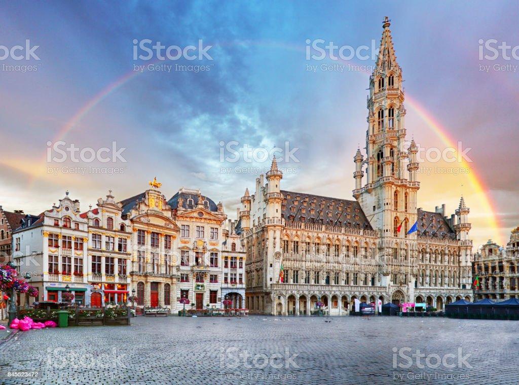 Bruxelles, arc-en-ciel sur la Grand Place, Belgique, personne ne - Photo