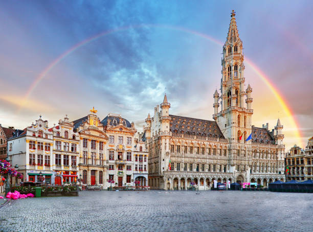 Brussels, rainbow over Grand Place, Belgium, nobody stock photo