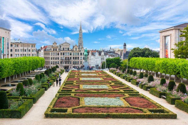 Brussels skyline and City hall tower, Belgium Brussels skyline and City hall tower, Belgium brussels capital region stock pictures, royalty-free photos & images