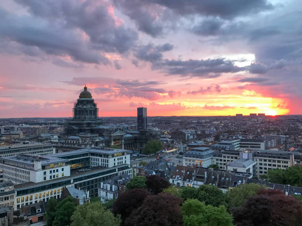 Brussels Skyline at Sunset stock photo