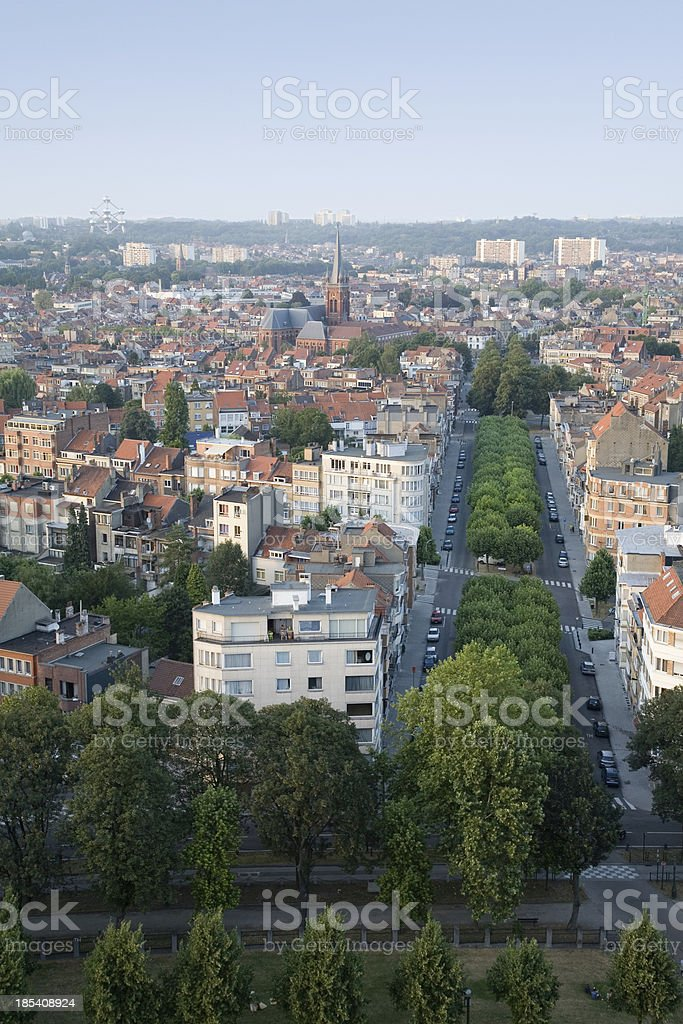 """Brussels skyline, north """"View on the northern part of Brussels, from a height of 90 meters."""" Above Stock Photo"""