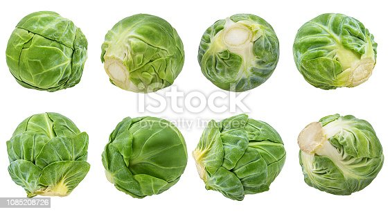 Fresh brussels sprout isolated on white background with clipping path