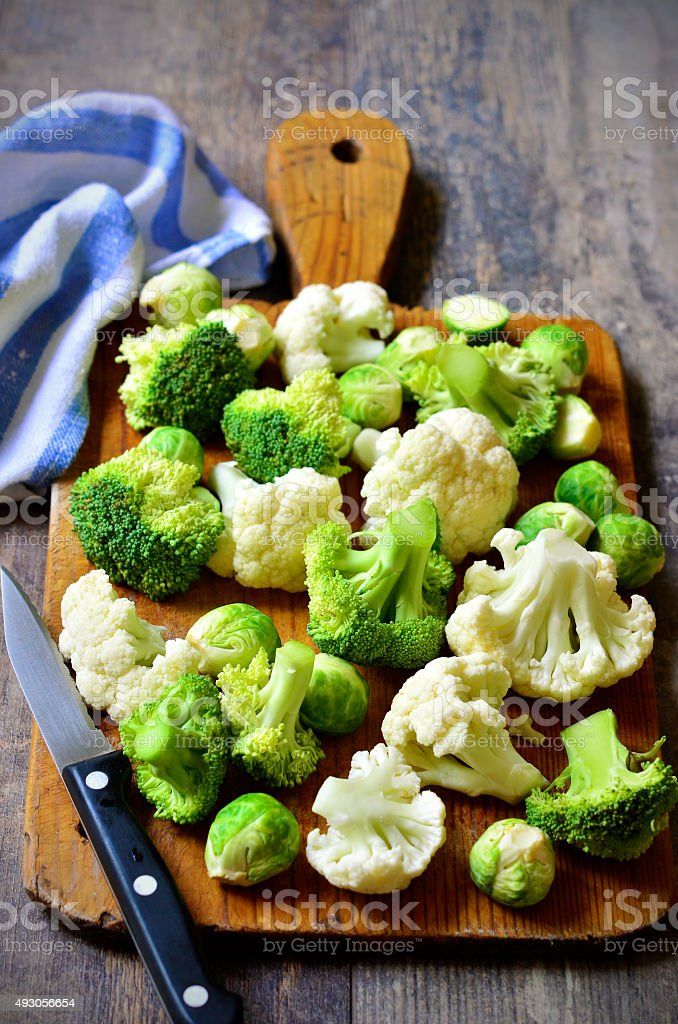 Brussels sprout,broccoli and cauliflower. stock photo
