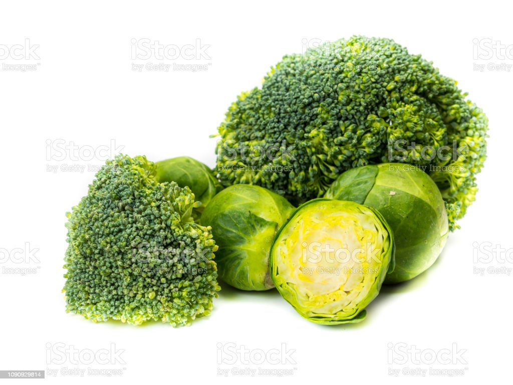 Brussels sprouts and broccoli isolated