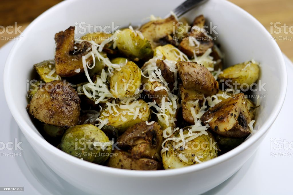 Brussels Sprouts and Mushrooms Side Dish stock photo