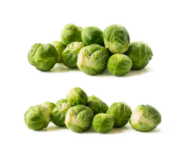 Brussels sprouts cabbage isolated on a white. Brussels sprouts cabbage on a white background. Cabbage with copy space for text. stock photo