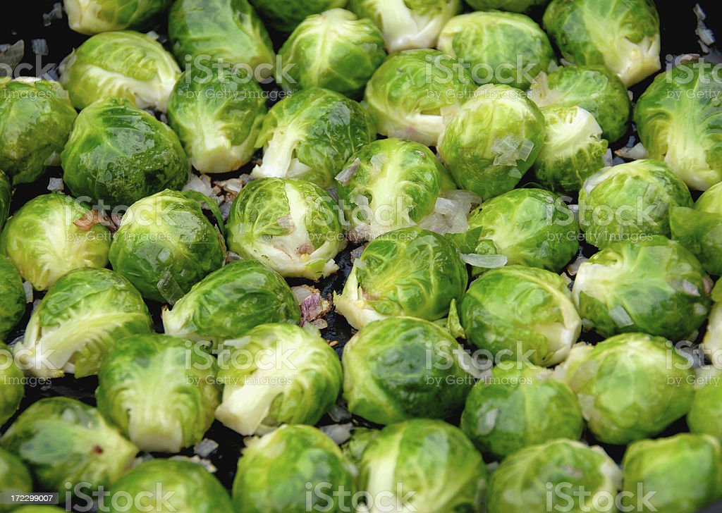 Brussels Sprouts Cooking in Skillet royalty-free stock photo