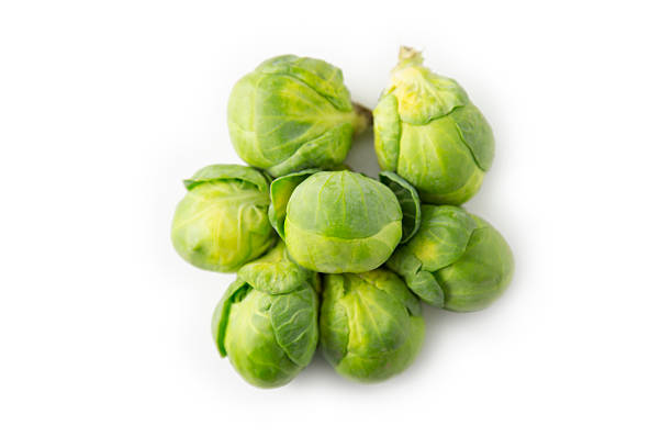 Brussels sprouts, isolated, bird's eye view stock photo